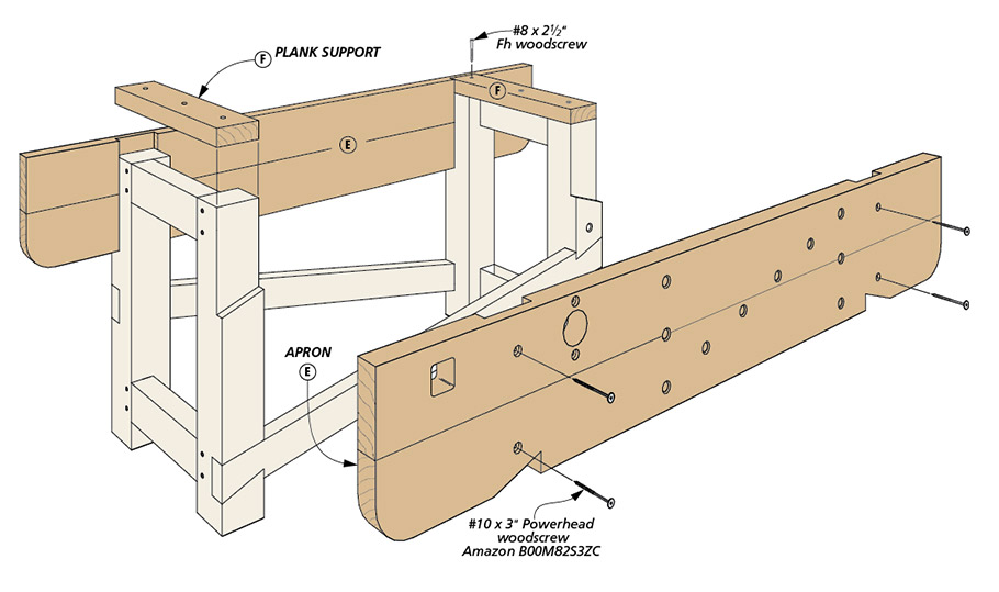 This traditional English workbench is a time-tested workbench design. It's plank top, wide front apron, and stout base are ready to serve you for years.