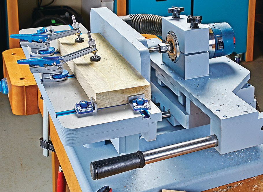 Turn your router into a horizontal mortiser. Sliding tables, easy-to-adjust stops, and excellent dust collection round out this budget friendly, precision shop-made tool.