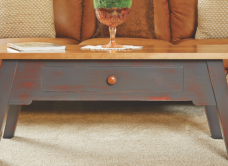The laid-back vibe of this table invites you to put your feet up and relax — or set up for the weekly game night.