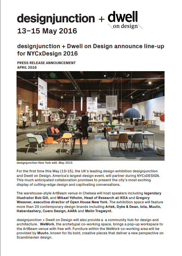 PDF Download of designjunction + Dwell on Design announce line-up for NYCxDesign 2016