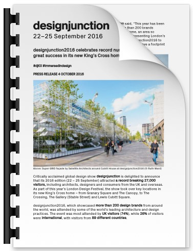 PDF Download of designjunction2016 celebrates record numbers of visitors and great success in its new King's Cross home