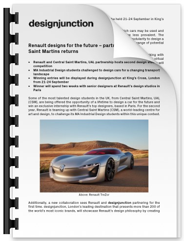 PDF Download of Renault designs for the future - partnership with Central Saint Martins returns