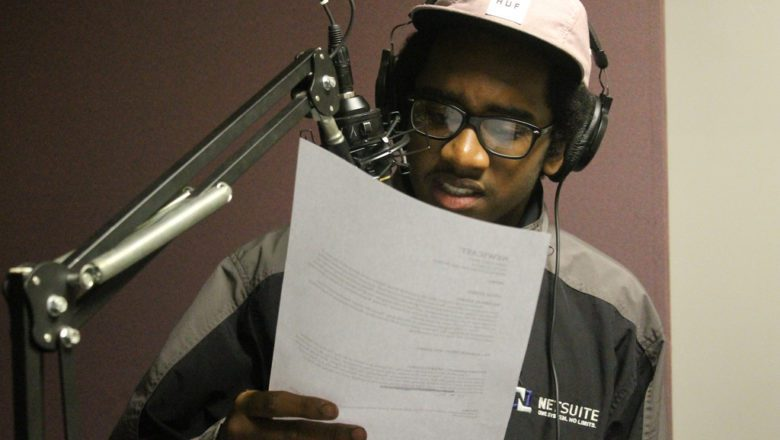 Youth Radio Core Student Malachi reads a commentary live on-air for Youth Radio Raw.