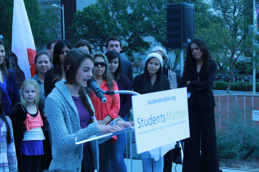 High school senior, Kate Elliot, speaks on behalf of her fellow plaintiffs about how bad teachers hurt students. (Photo: Noah Nelson