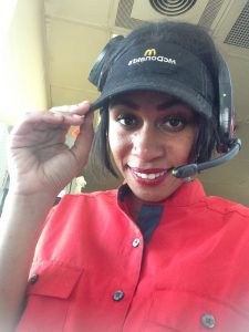Alicia Donaldson, sneaks a selfie while working the drive through at McDonald's. Youth Radio/ Alicia Donaldson