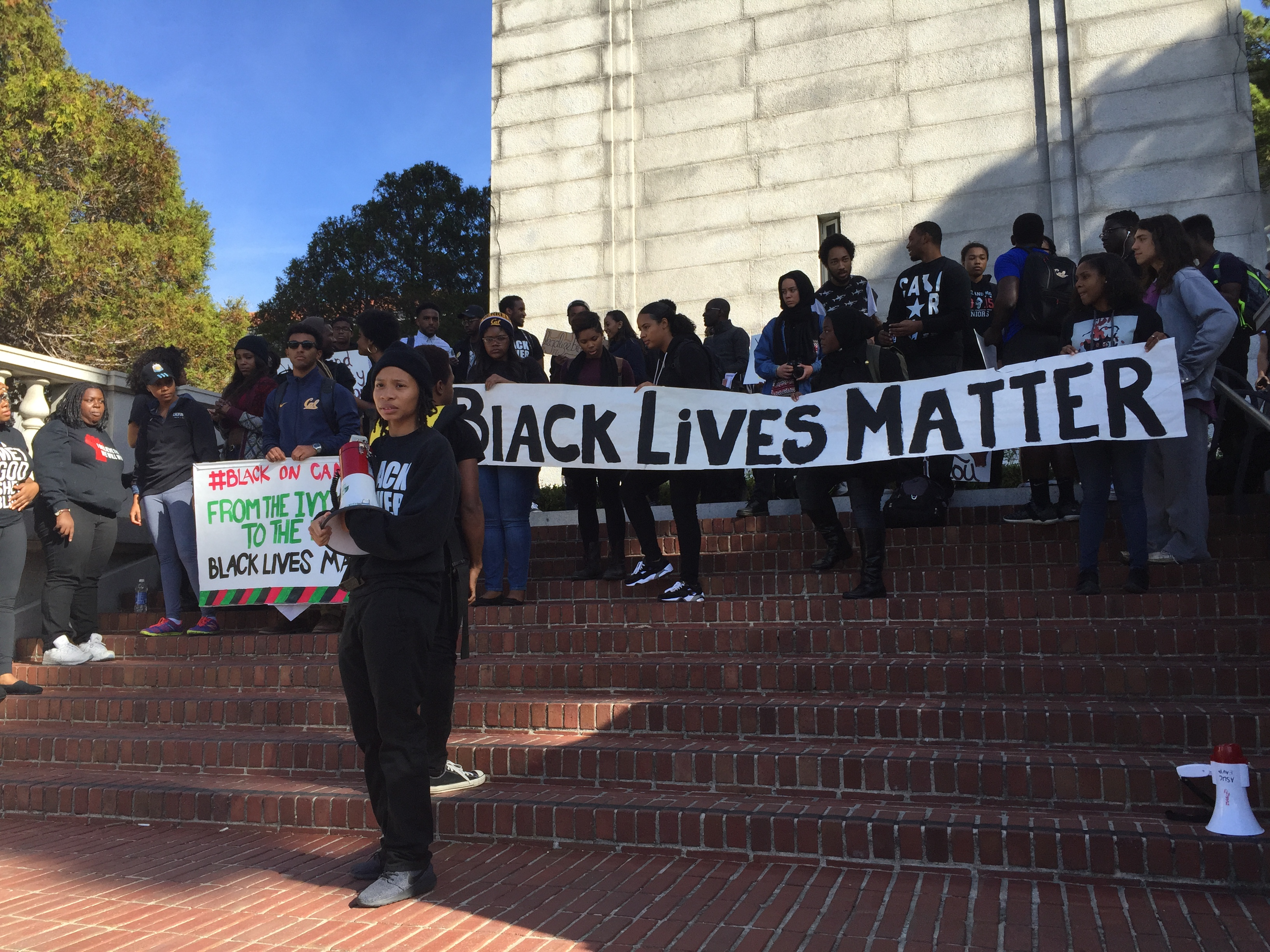 Na'ilah Nasir of the Black Student Union protests for safe spaces on UC Berkeley's campus.