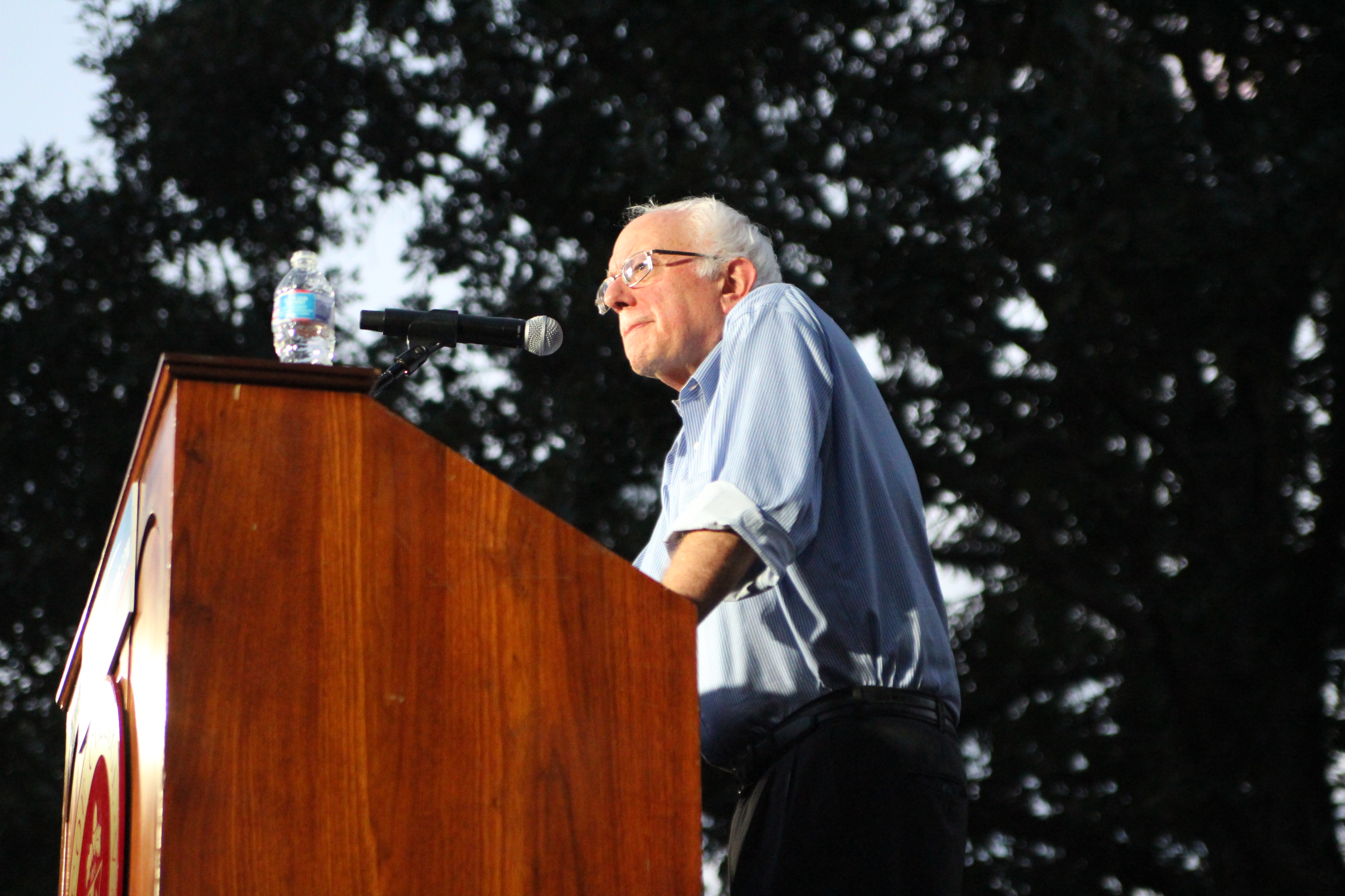 Senator Sanders speaking at Coe College in Cedar Rapids, Iowa on September 4th.