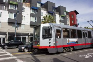 Mercy Housing's building is located along a streetcar line in San Francisco.(Photo credit: Shawn Wen/Youth Radio)