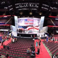 On the floor of the Quicken Loans Arena, site of the 2016 Republican National Convention.