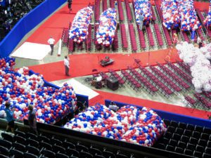About 125,000 red white and balloons hang above the rafters in the Quicken Loans Arena, where they will stay until Donald Trump officially accepts the nomination on Thursday night. Photo: Brett Myers/Youth Radio