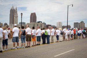 Demonstrators took to the Hope Memorial Bridge in Cleveland to #StandForLove