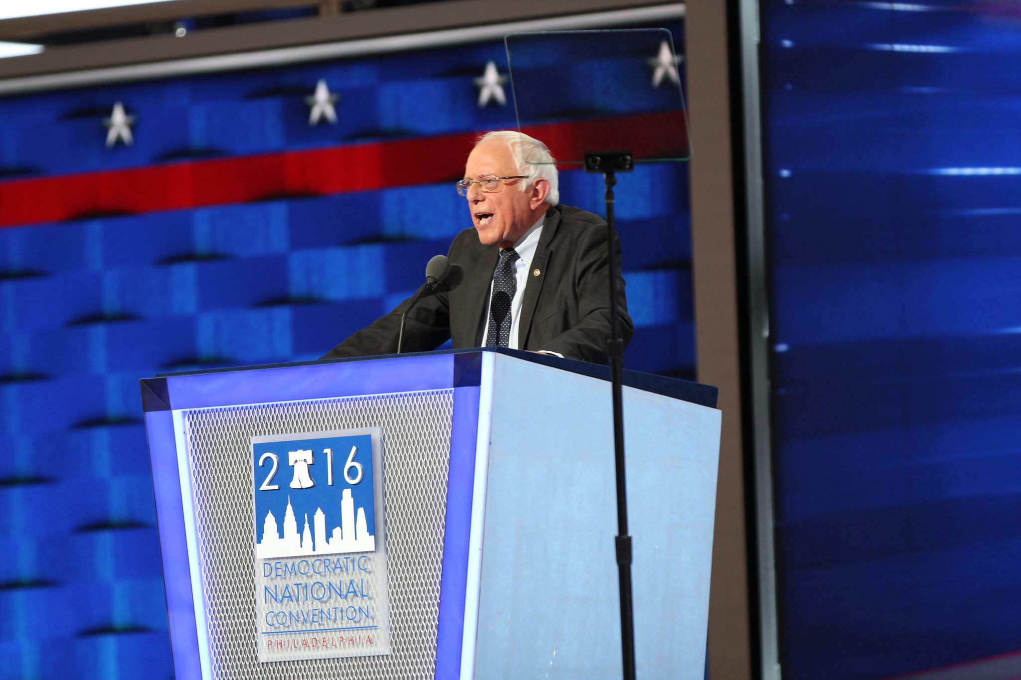 Bernie Sanders' spoke at the DNC to a raucous, supportive crowd.