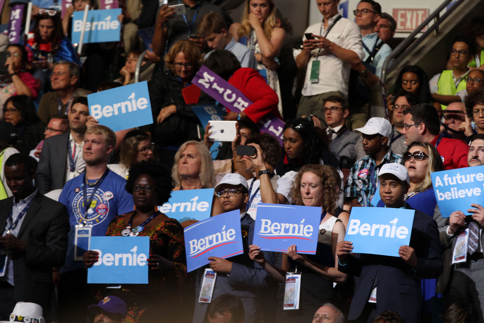 Even though Hillary Clinton clinched the Democratic presidential nomination, Bernie Sanders' supporters were highly visible at the DNC.