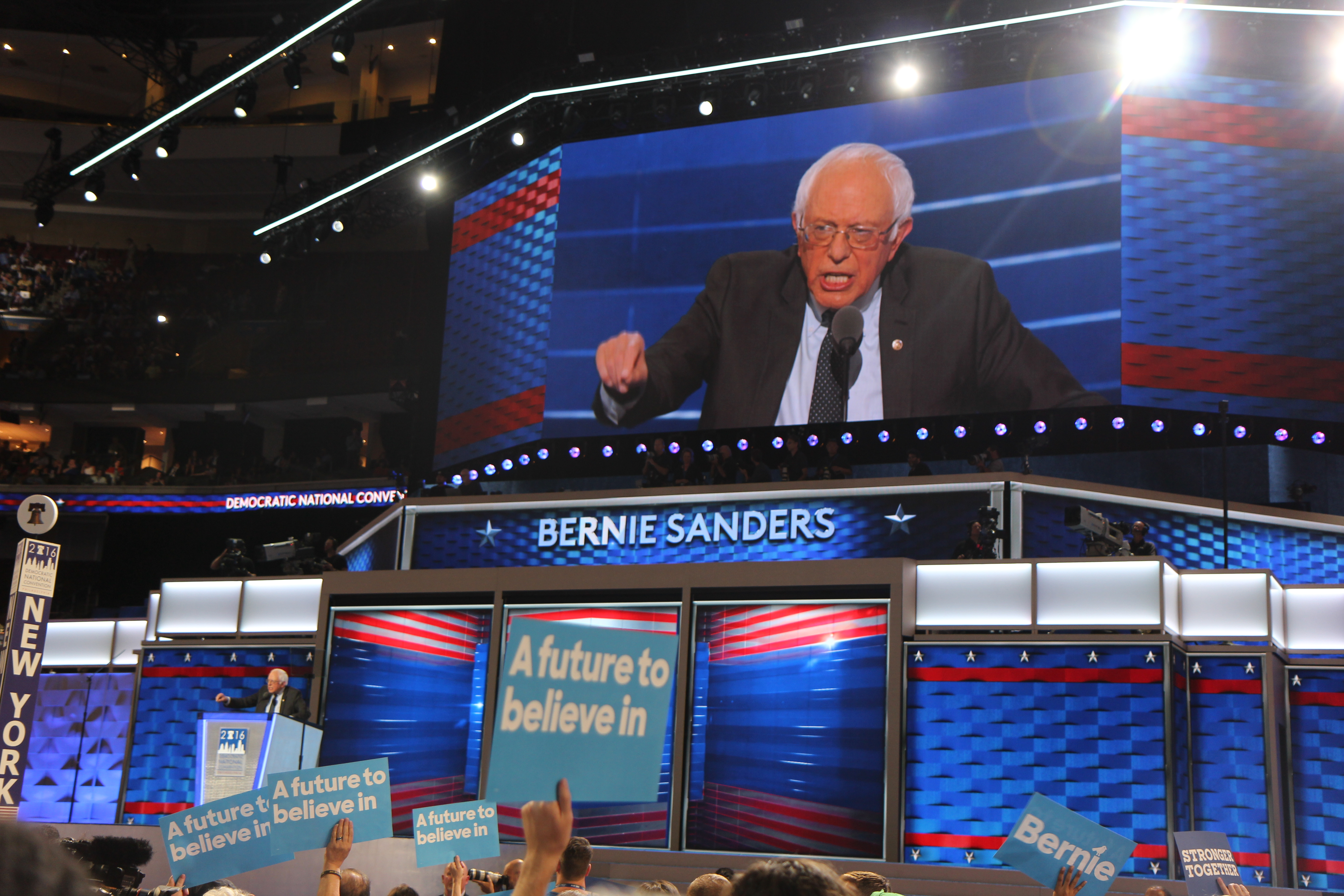 Bernie Sanders urged his supporters to rally behind Hillary Clinton.