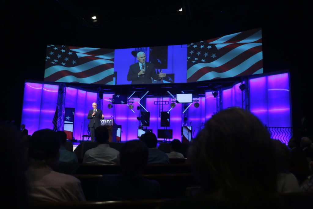 Governor Mike Pence speaking with supporters at a campaign rally and church service at the Living Word Bible Church in Mesa, Arizona. Credit: Gage Skidmore, Creative Commons
