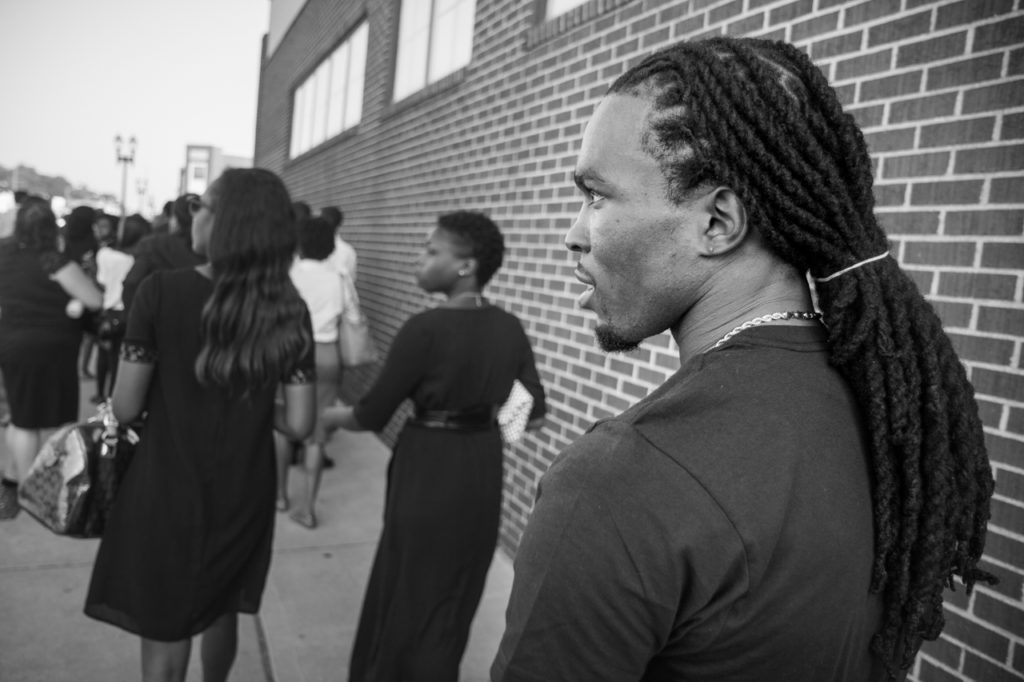 Darren Seals at the 2014 funeral of Michael Brown in St. Louis, Mo. Photo: Brett Myers/Youth Radio