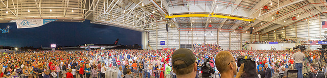 Donald Trump visits Melbourne/Orlando International Airport (MLB). This is a panorama of the hangar and the over 10,000 people (Trump stated that it exceeded 12,000) in attendance. Image: Michael Seeley (September 27, 2016)