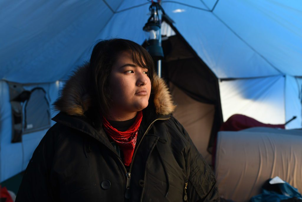 Sarah Shomin, a 20-year-old Ojibwe, came to Standing Rock, North Dakota from Michigan.