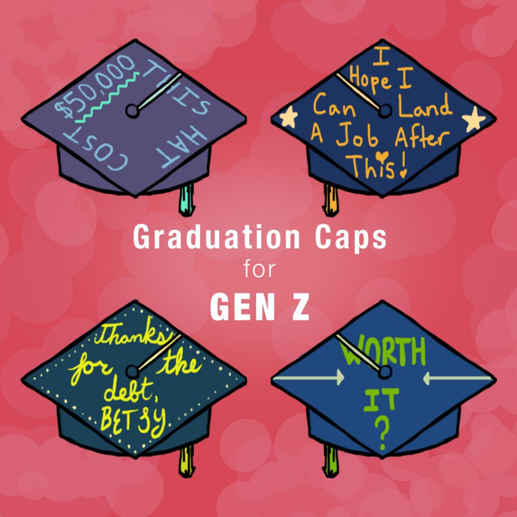 four gen z graduation caps