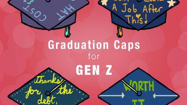 four gen z graduation caps