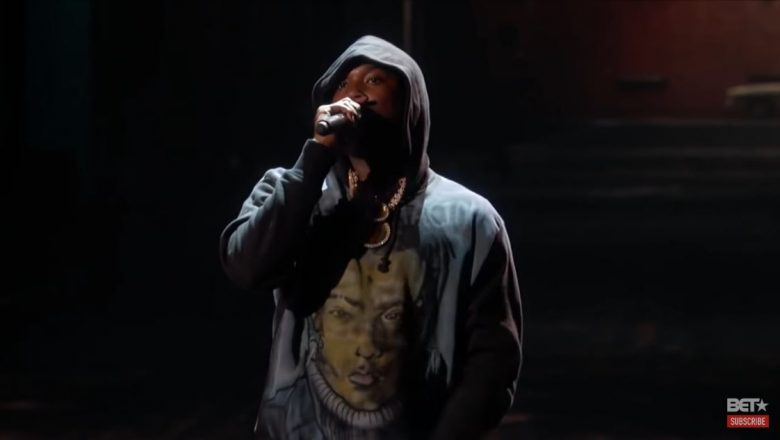 "Meek Mill performing ""Stay Woke"" at the 2018 BET Awards on June 24, 2018."