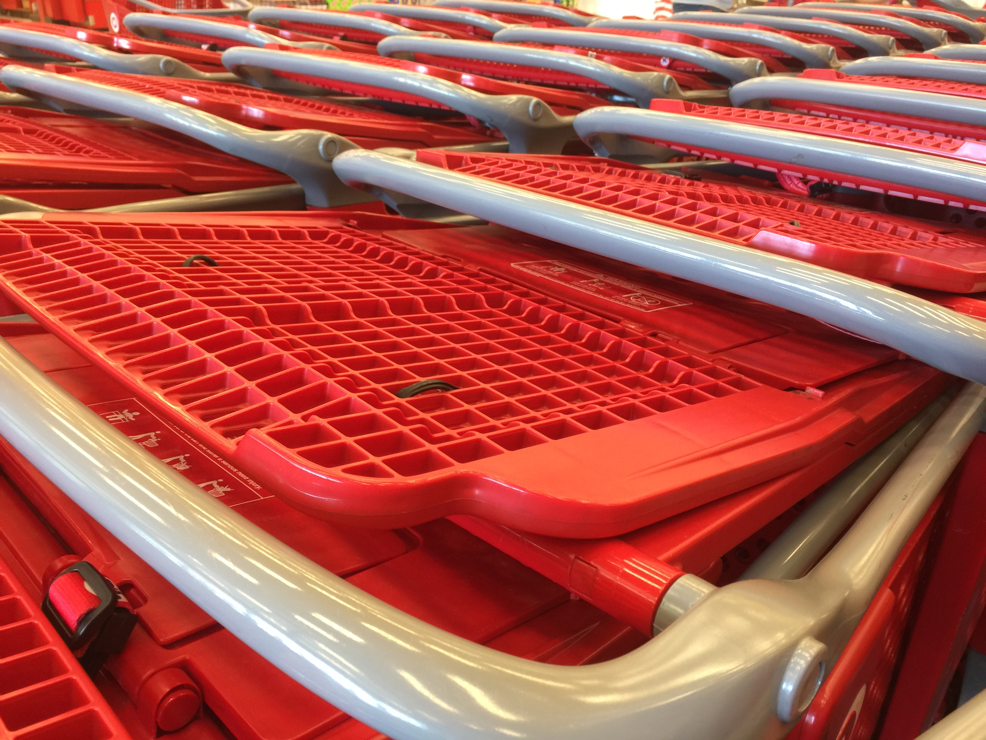 A good close up shot of shopping carts. Specifically TARGET shopping carts. Aesthetically pleasing.