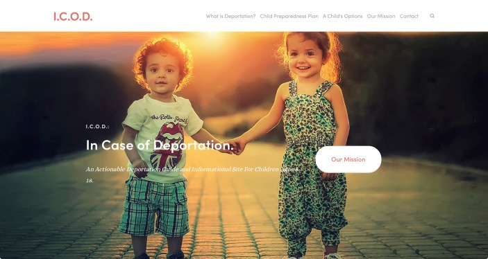 A website screenshot for the I.C.O.D. website where two cute little kids hold each other's hands.