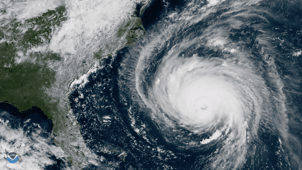 Satellite picture: Hurricane Florence Nears the East Coast.