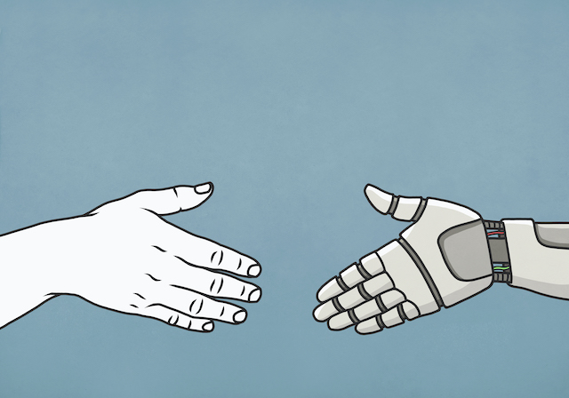 A cartoon human hand is reaching out to a cartoon robot hand, appearing as if both of them will meet each other in the middle to shake hands.