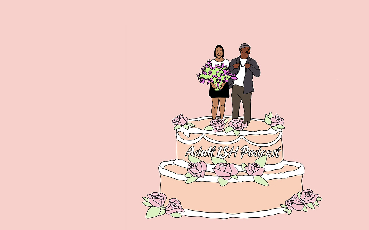 "Cartoon versions of co-hosts Merk and Nyge stand on top of a light pink wedding cake with ""Adult ISH Podcast"" written in white icing. This is a fun poke to the overall ""Hitched ISH"" episode which is all about marriage."