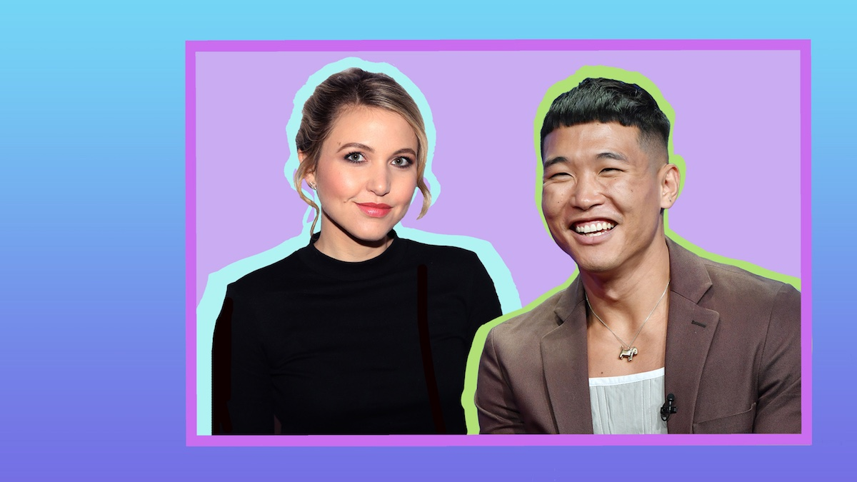 Graphic illustration of Comedians Taylor Tomlinson and Joel Kim Booster