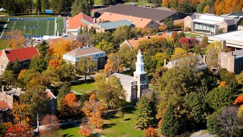aerial view of campus in the fall