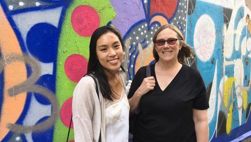 Katherine McNally '18 and Professor of French Cheryl Morgan.