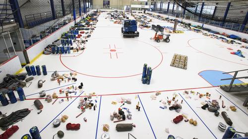 Orientation trip supplies are carefully laid out in Sage Rink