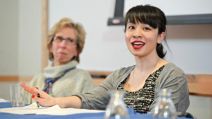 Emily Tang '08, right, returned to the Hill for an alumni Career Center panel in 2011.