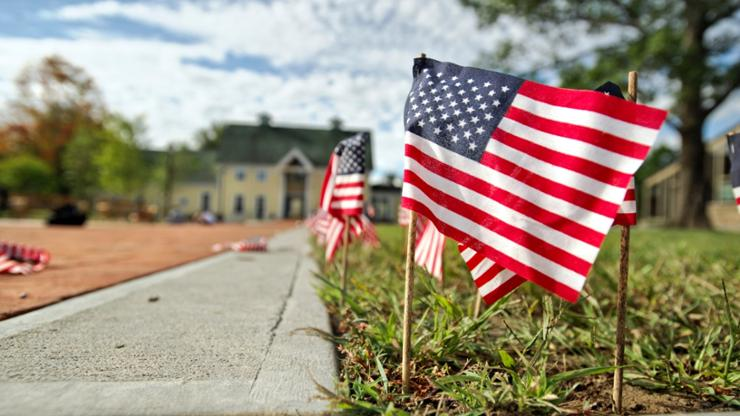Each year on September 11th, students place flags along Martin's Way to commemorate the anniversary.