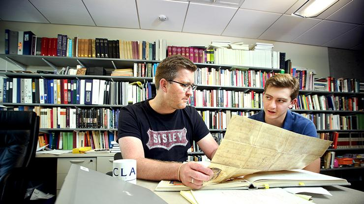 Matt Currier '16meets with Assistant Professor of History John Eledvik to discuss his Emerson Foundation research project