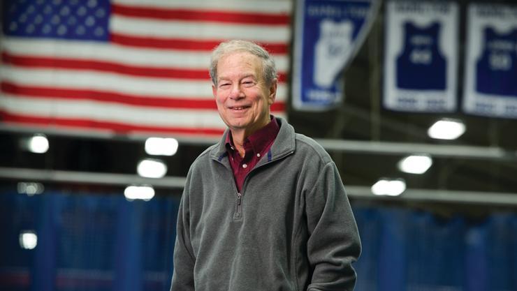 Bob Simon in the Scott Field House.