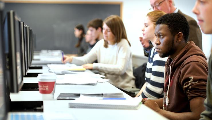 Students in professor Mark Bailey's computer science class.