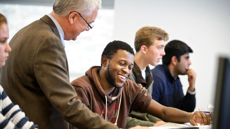 Emmerson Zhaime '17 in Professor Mark Bailey's computer science class in the Taylor Science Center