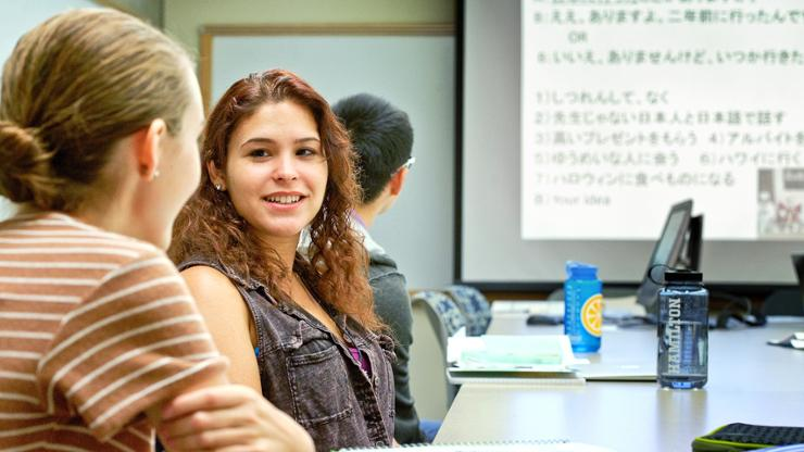 Dairys Quintero '19 in her Japanese class.