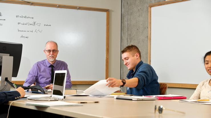Luke Jeton in an Asian studies class with Professor Thomas Wilson.