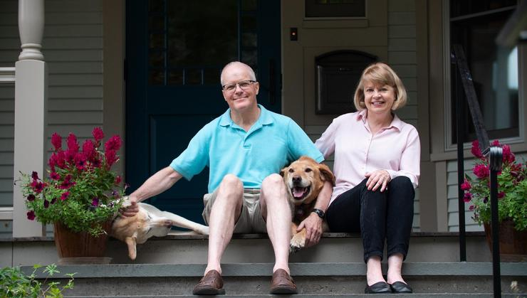 Stewart Herman '70 and his wife, Linda Herman, at their green home.