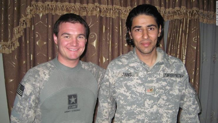 Matt Zeller '04 and his translator, Janis Shinwari, with No One Left Behind.