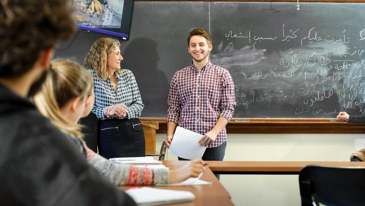 Elliot Plaut '19, right, with Arabic language instructor Mireille Koukjian.