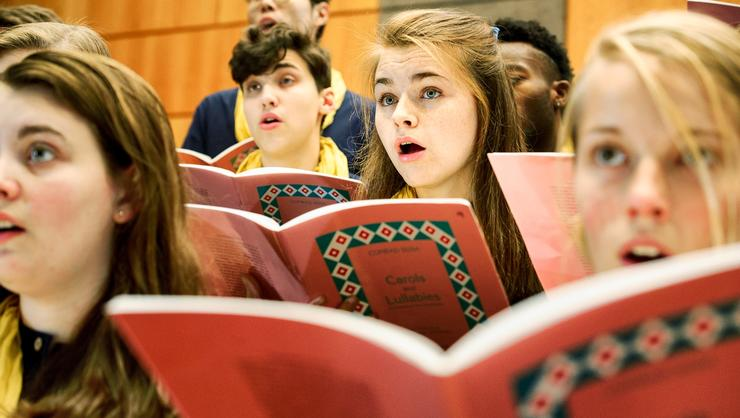 Kelsey Brush '20, center, with the College Choir.