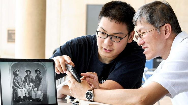 Zhaosen Guo '21 and Sidney Wertimer Associate Professor of Biology Wei-Jen Chang talk about Chan Laisun, the first Chinese student at Hamilton (pictured at far right on monitor).