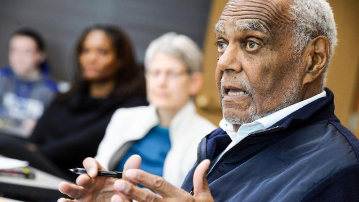 Bob Moses '56 shared his experiences as an activist, both in civil rights and in education, with a Hamilton class in 2018.