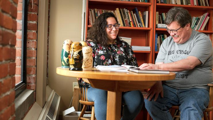 Sheridan Cordova '20 and John Bartle, associate professor of German and Russian languages and literatures.