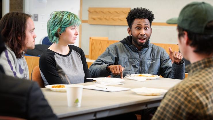 Jeffrey Clark '20 makes a point during a meeting of Bridge, a new student political discussion group.